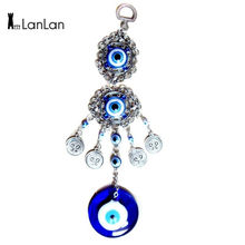 LanLan Blue Evil Eye Amulet Protection Turkish Wind Chimes Wall Hanging Home Decotation Blessing Gift Lucky Pendant-35(China)