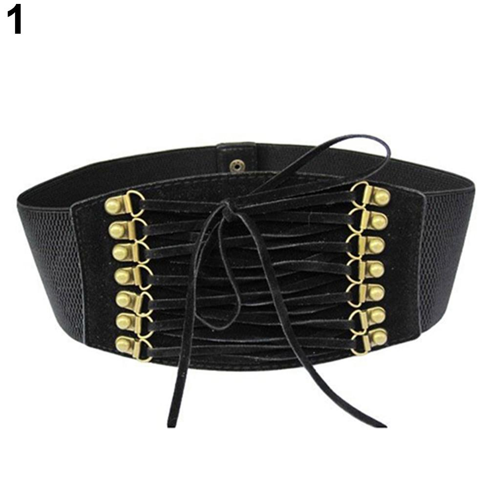 Women Fashion Wide Elastic Stretch Belt Tassel Lace Up Corset Waist Waistband Dropshipping