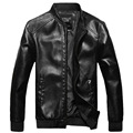 2015 New Fashion Spring Autumn Pu Leather Jacket Men Solid Casual Slim Leather Jacket Man