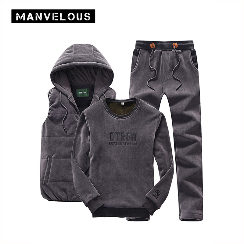 Manvelous Tracksuit Mens Three Sets Fashion Casual Cardigan Patchwork Pocket Vest Hoodies Pants Elastic Waist Hooded