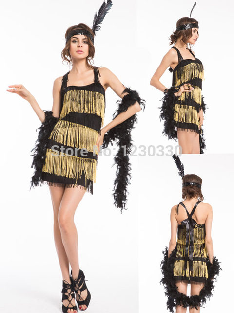 plus size costume s-3xl Puttin  on the Ritz 20 s Flapper Black Gold Dress  Up Halloween Adult Costume free shipping f9e98c58757f