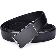 Men's Real Leather Ratchet Dress Belt with Automatic Buckle Fashion Youth Leather Simple Business Men Belt lin ting han belt men s leather youth pants with men s automatic buckle leather korean casual business belt men s tide new