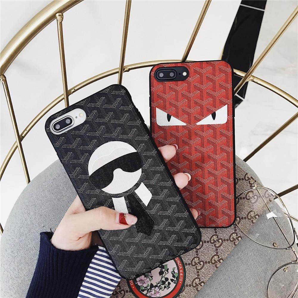 Luxury relief design cool soft leather Phone Case for iphone 8 8plus x 10 6 6s 7 7Plus men