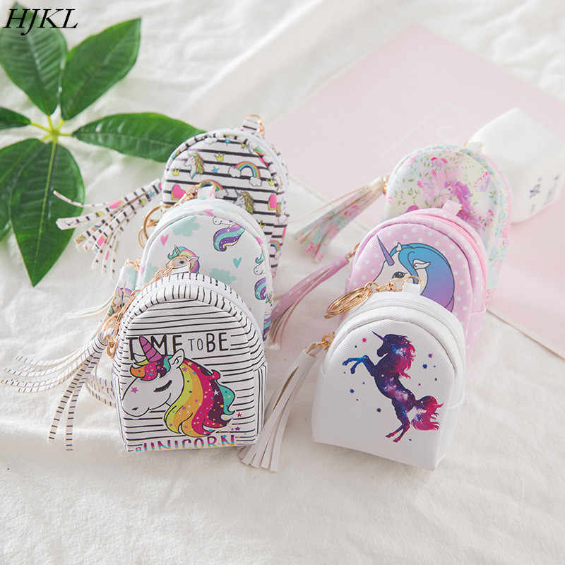 Leather Cartoon Unicorn Coin Purses Women Wallets Small Cute Kawaii Card Holder Key Money Bags For Girls Ladies Purse Children