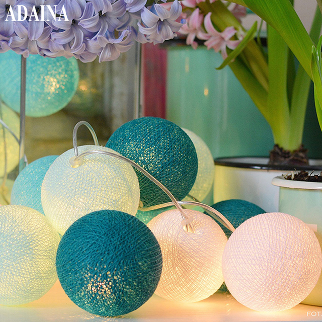 battery 5m 35 cotton ball christmas fairy string lights home decoration fiestas lamp garland strip lighting
