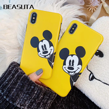 Yellow Case For iphone 7plus XS MAX XR Cover Mickey Minnie Silicone Soft  Coque iPhone 6s 6 7 8plus X Bags Funda capas