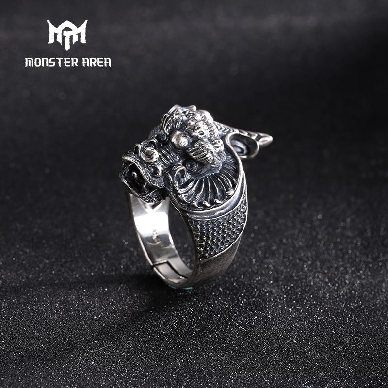 MONSTER AREA Vintage Silver 925 Ring Men Dragon Punk Man Ring Unique Classic Adjustable Rock n Roll Fans Item