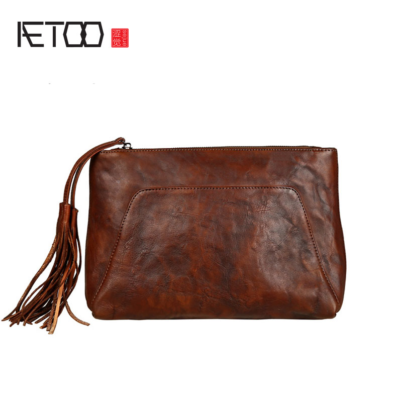 AETOO Leather handbag tannery retro pocket bag leather hand holding bag large capacity tassel bag