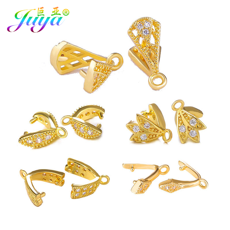 Juya Handicraft Jewelry Clamp Pinch Clip Bail Charms Hooks Accessories For Women Crystal Agate Earrings Necklace Jewelry Making