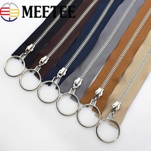Silver O Ring Open-end Metal Zippers Fermeture Zip A Coudre Eco-friendly Double Sliders Zippers For Sewing Down Jacket KY2190