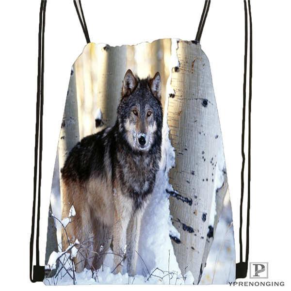 Custom Wolf_moon_by_kyghost@03- Drawstring Backpack Bag Cute Daypack Kids Satchel (Black Back) 31x40cm#180611-03-107