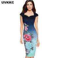 UVKKC Womens Elegant Vintage Floral Print Charming Pinup Cap Sleeve Casual Party Evening Vestidos Pencil Sheath