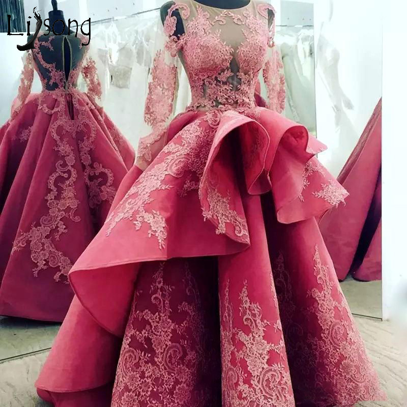 2018 Saudi Arabic Long   Prom     Dresses   Full Sleeves Ruffles   Prom   Gowns Abendkleider O-neck Vintage Formal Party   Dress   Abiye
