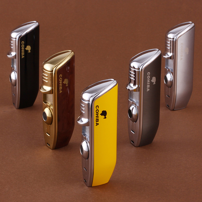 COHIBA Gadgets Pocket Size Metal Snake Mouth Shape Refillable Butane Gas Jet Flame Cigarette Cigar Lighter W Cigar Punch