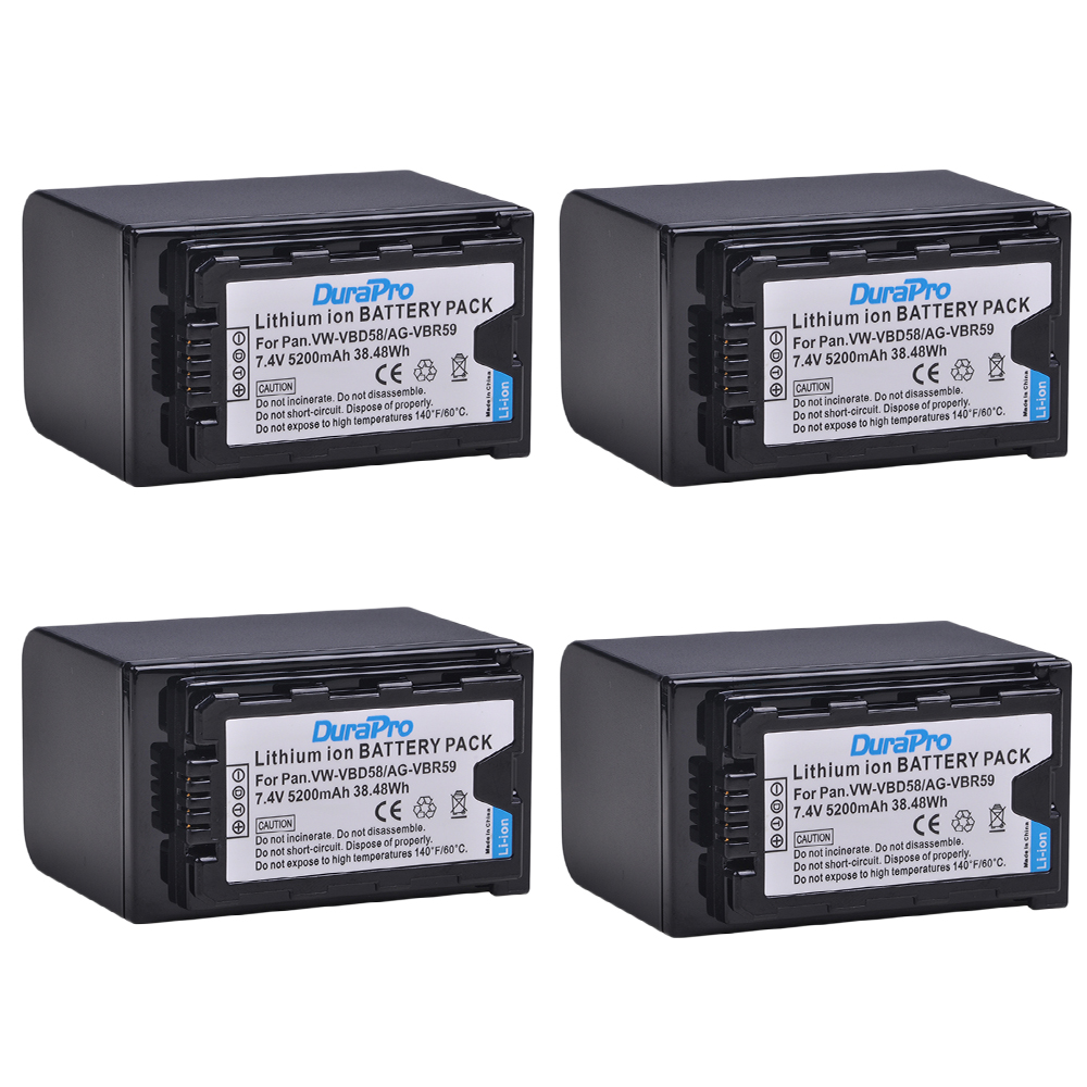 4 pz 5200 mah VW-VBD58 VBD29 VBD58 VBD78 AG-VBR59 Batteria per Panasonic AJ-HPX260MC, HPX265MC, PX270, PX285MC, PX298, AG-FC100, HC-X10004 pz 5200 mah VW-VBD58 VBD29 VBD58 VBD78 AG-VBR59 Batteria per Panasonic AJ-HPX260MC, HPX265MC, PX270, PX285MC, PX298, AG-FC100, HC-X1000