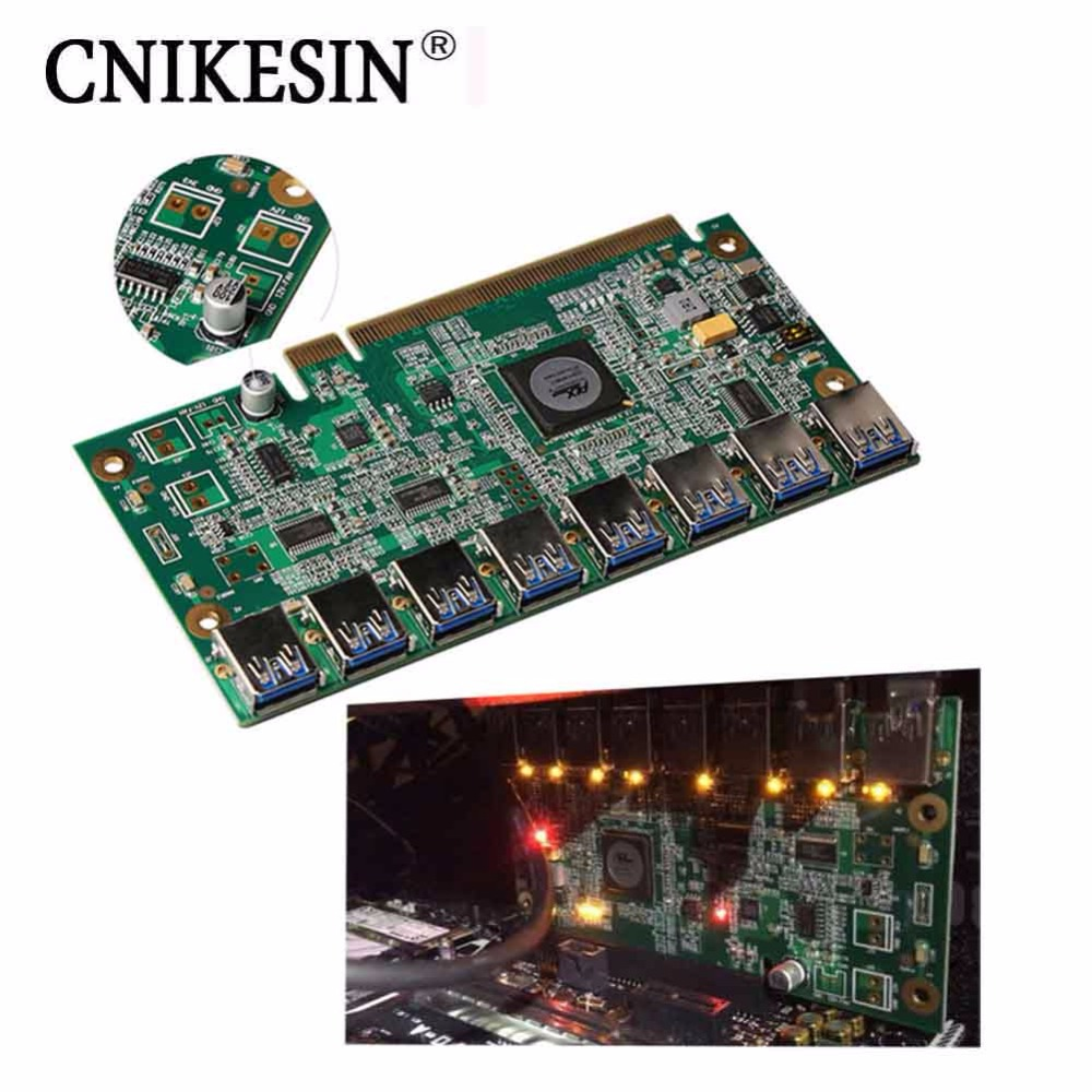 CNKESIN PCI E PCI Express Riser Card 16x USB 3 0 Data Cable SATA To 8Pin