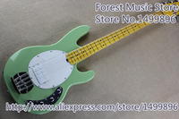 High Quality Green Glossy Finish 4 String Musicman Electric Bass Guitar With Maple Fretboard Free Shipping