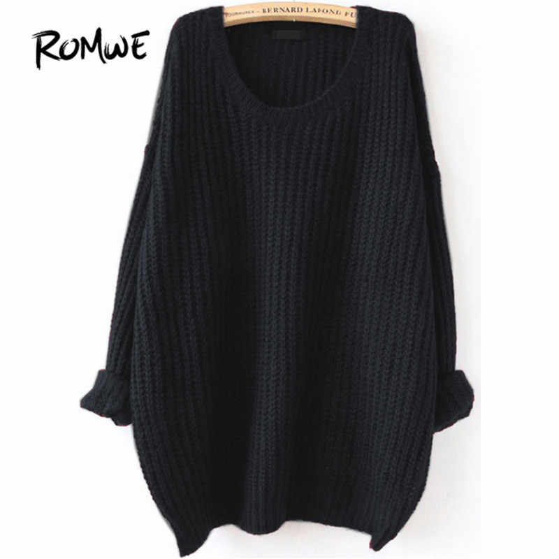ROMWE Drop Shoulder Textured Knitted Sweater Pullovers Women Black Loose Long Sweaters Fall  Fashion Casual Basic Sweater