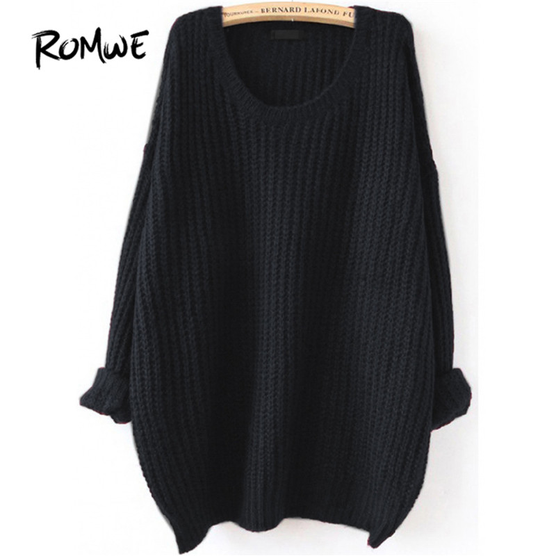 df40d9212f0a ROMWE Drop Shoulder Textured Knitted Sweater Pullovers Women Black ...