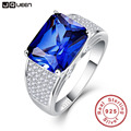 JQUEEN Sterling Silver 925 Silver 7.5CT Emerlad Cut Romantic Women Blue Sapphire S925 Ring Promise Rings