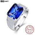 Jqueen 7.5ct emerlad cut romântico das mulheres de prata esterlina 925 prata azul safira s925 anel de promessa anéis