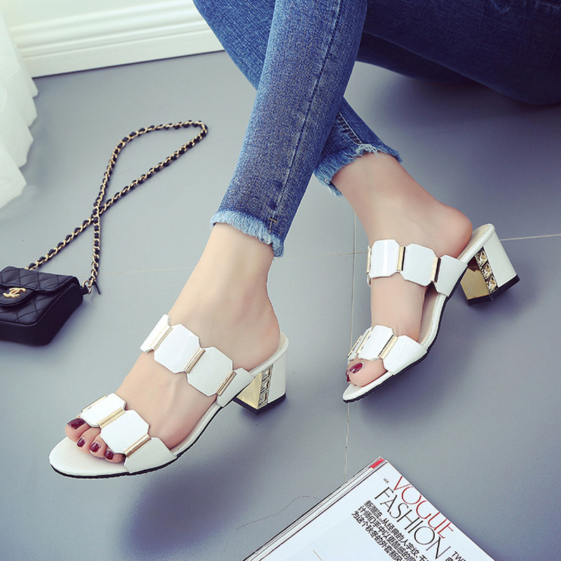 Summer New Fashion Sandals High Heels Shoes Woman Open-toed Thick Heel Cool Slippers
