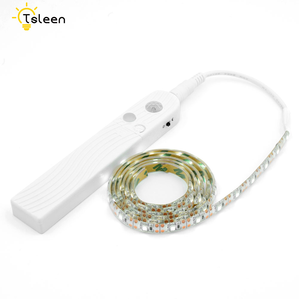 Flexible 5v Waterproof Led Strip 1/2/3m Motion Sensor 2835 Led Ribbon Tape Battery Opera ...