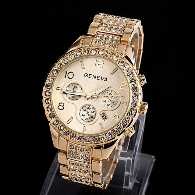 761f9588f4f xiniu Geneva Women Dress Watches Fashion Luxury Stainless Steel Rhinestones  Crystal Quartz Wrist Watch relogio feminino