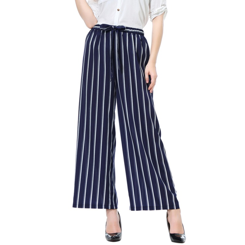New Fashion Summer   Wide     Leg     Pants   Women High Waist Plaid Striped Loose   Pants   Elegant Office Ladies Trousers M-L X2