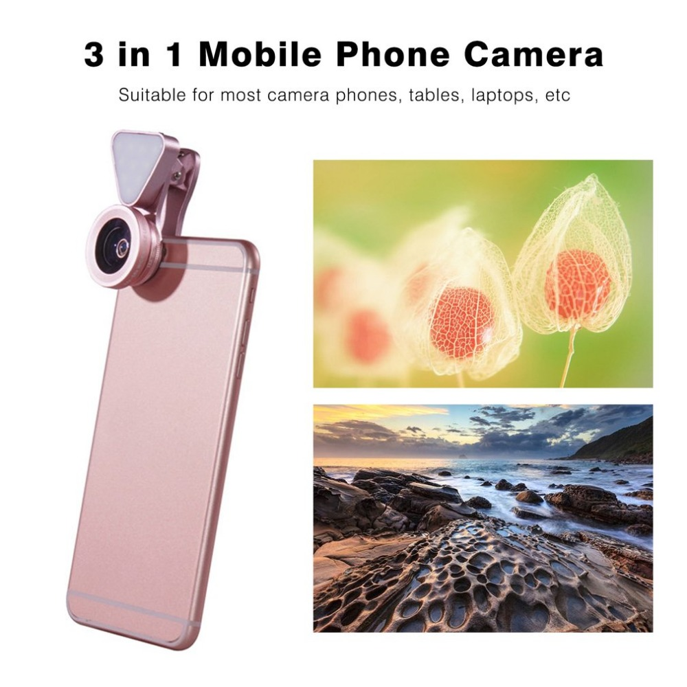 3 в 1 мобильный телефон 10 светодиодов Красота селфи светодиодная вспышка света 140 градусов 0.4x-0.6x Широкий формат объектив 15x макро Камера клип ... ...
