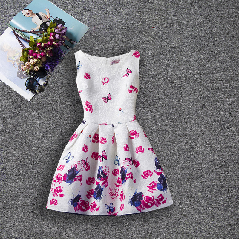 U-SWEAR 2019 New Arrival Kid   Flower     Girl     Dresses   Sleeveless O-Neck Butterfly Print A-line   Girls   Pageant   Dresses   Vestidos