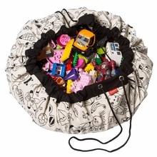 Игровой коврик для рисования и сумка для хранения игрушек-прочный коврик-органайзер для занятий на полу-большой переносной контейнер на шнурке для детских игрушек