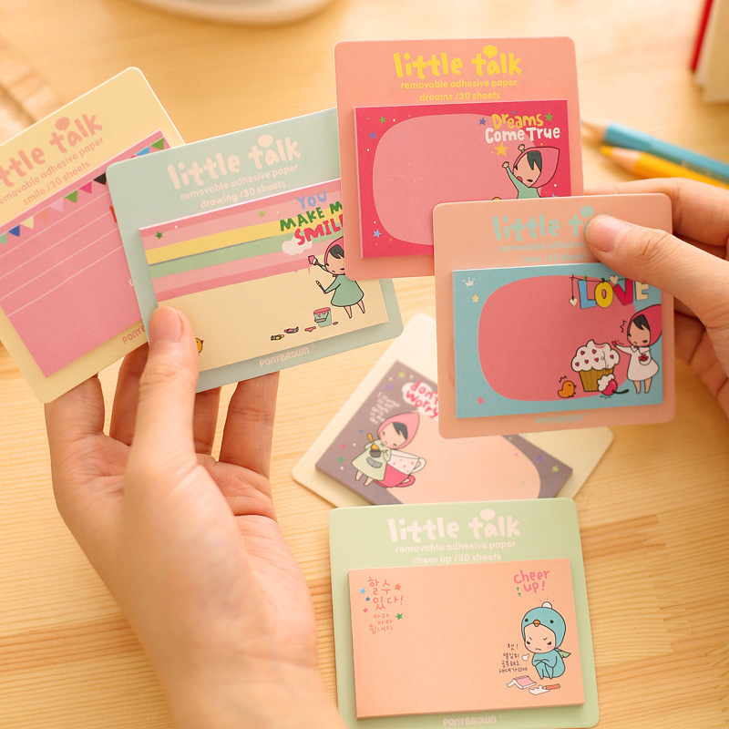 8 pcs office & school 8pcs creative pad little red two generation N times stickers girl post gift memo sticky notes pads 8*8.5cm