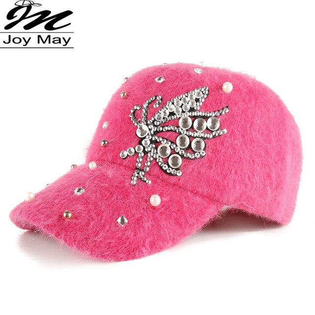 2015 New fashion winter cap diamante Rhinestone warm fur cap Leisure Fake hair baseball cap for women lady girl  W210