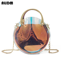 Women Summer PVC Clear Transparent Hologram Bag Small Cute Tote Bags Small Chain Mini Messenger Bags