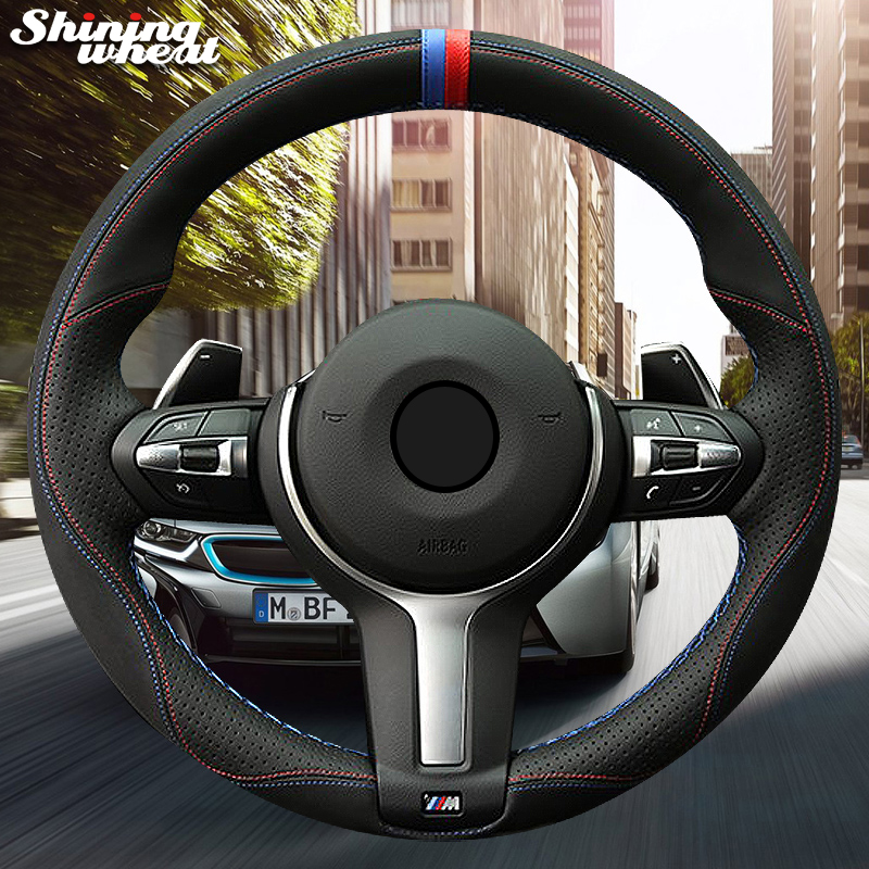 Shining wheat Black Suede Leather Car Steering Wheel Cover for BMW F87 M2 F80 M3 F82 M4 M5 F12 F13 M6 F85 X5 M F86 X6 M F33 F30