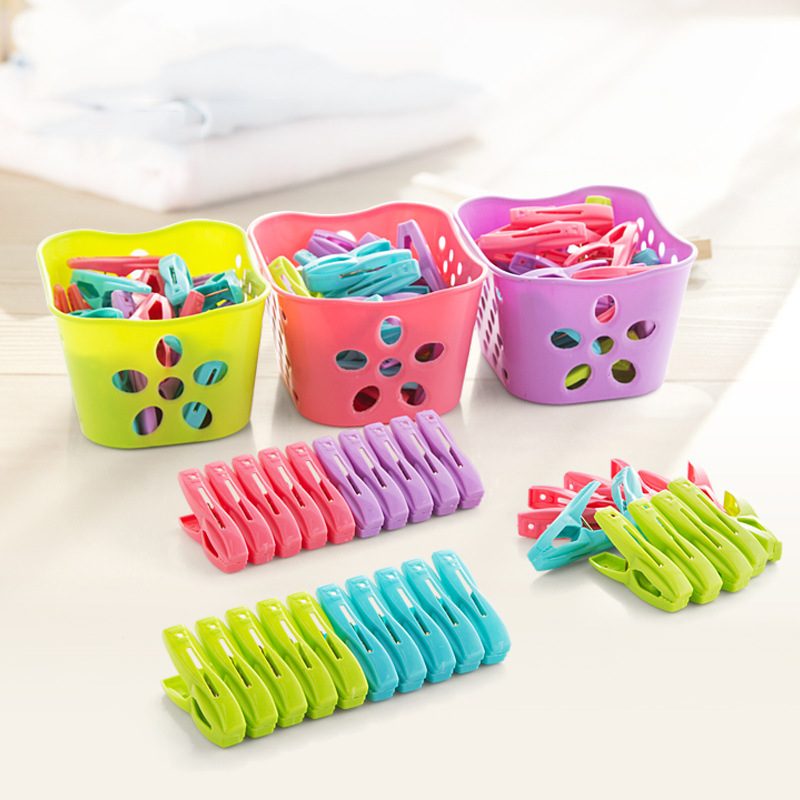 30Pcs/Lot Clothes Pegs with Basket Laundry Clothes Pins Colorful Plastic Clips Heavy Duty Clothesline Towel Socks Hangers Racks