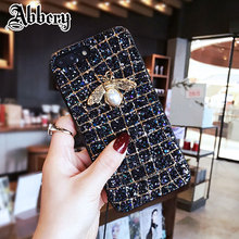 Abbery Luxury Brand 3D Metal Bee Pearl Bling Glitter Phone Case for iPhone 6 6s 7
