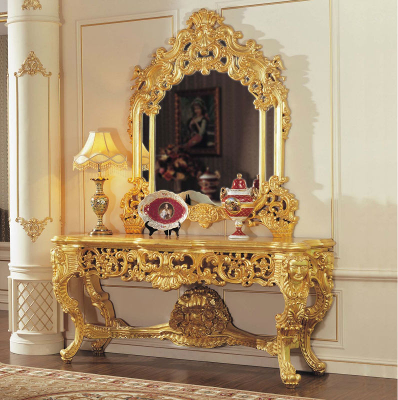 French Empire Furniture Baroque Golden Foil Cracking Paint