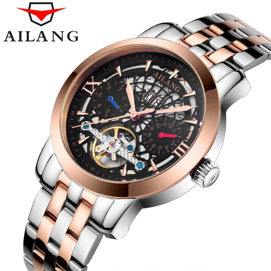 AILANG Brand Mechanical Watch relogios masculino Mens Watches Top Brand Luxury Tourbillon Clock Men Automatic Skeleton Watch 2016 brand steel military fashion self wind relogios automatic watches mechanical tourbillon watch men tourbillon clock with box