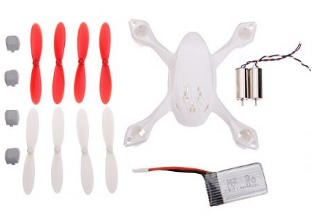 Hubsan X4 H107D Crash Pack H107D-A07 Spare Parts with Body Shell +Battery + Propeller + Motor for X4 H107D FPV Quadcopter