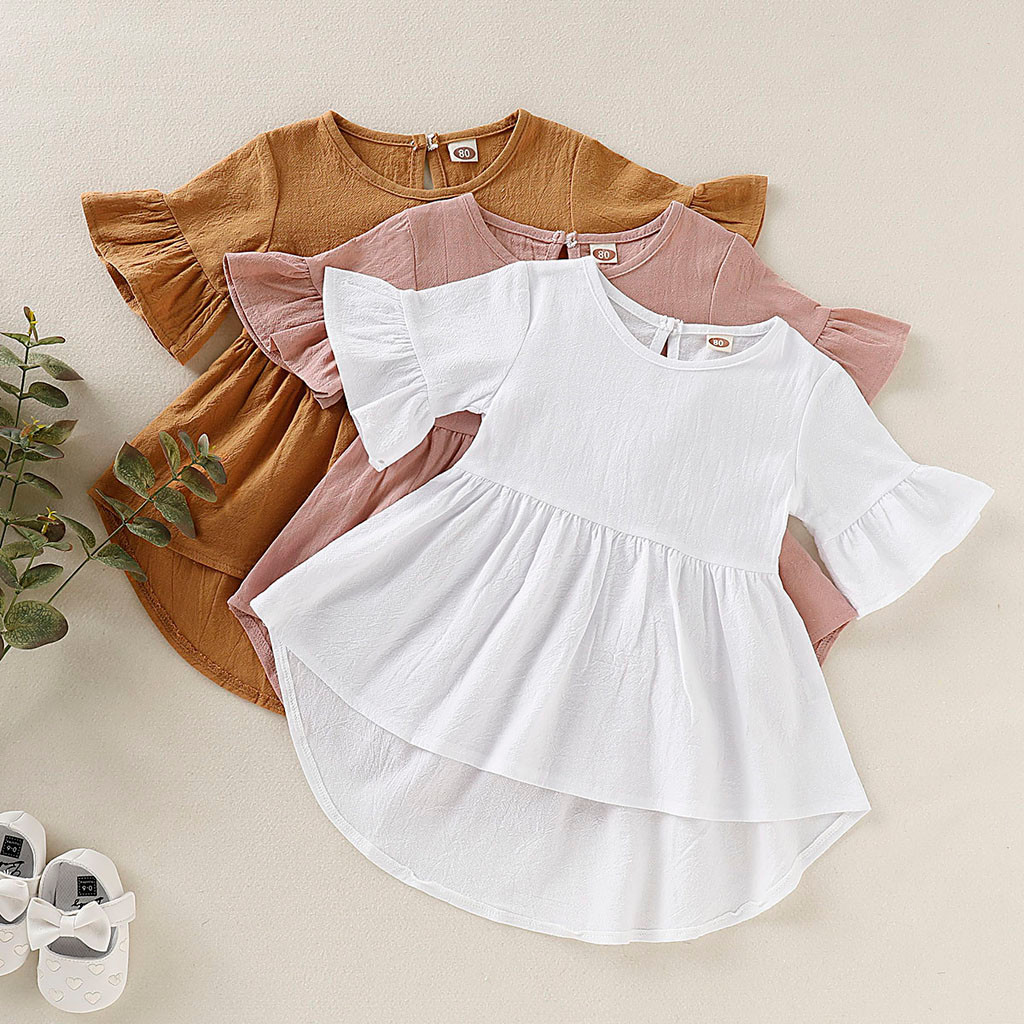 Infant Toddler Kids Dress For Girls Spring Summer Dress Summer Baby Solid Princess Party Dress 1-4 Years Vestido Verano Bebe