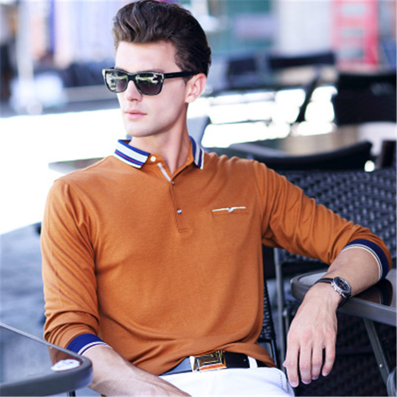 2019 Spring New Men's   Polo   Shirt Classic Design Business Casual Solid Color Cotton Long Sleeve   Polo   Shirts Men Anti-Wrinkle