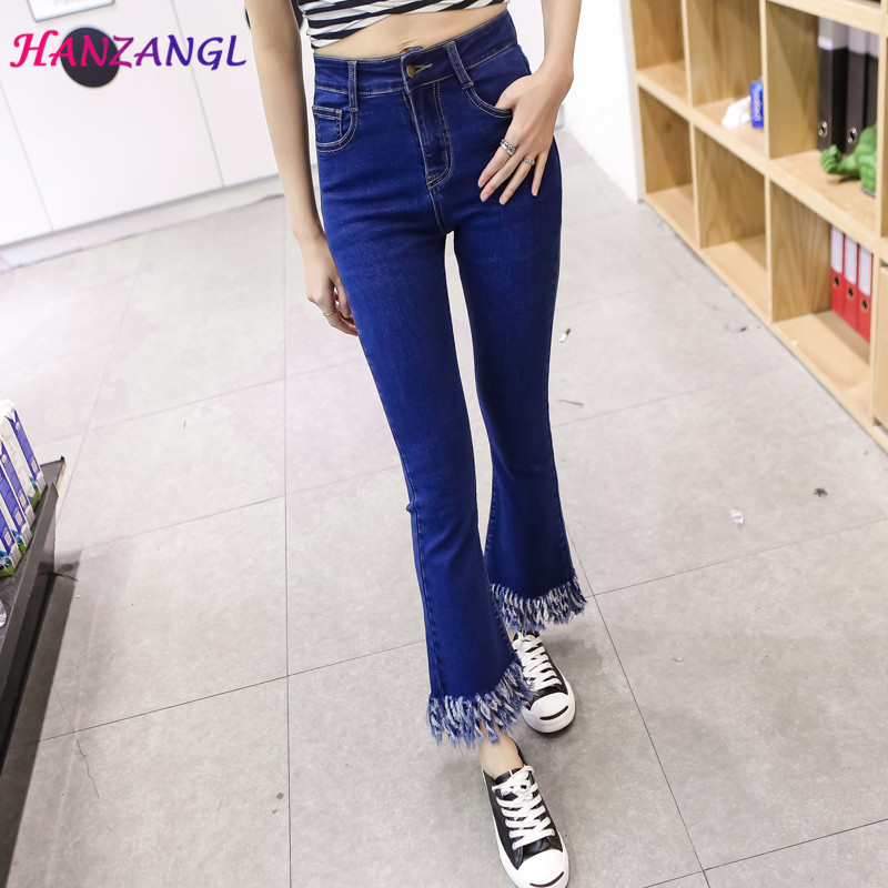 HANZANGL New 2017 High elasticity cotton Micro Flare pants tassel washed jeans Female Skinny Ankle Length