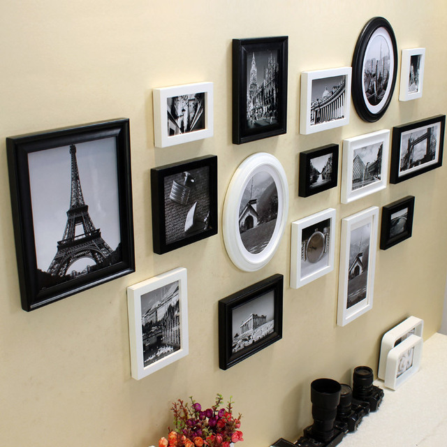 High quality luxury baroque style solid wood picture frame modern gallery black white collage wall painting