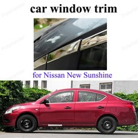 car Styling For N issan New Sunshine Exterior Car Accessoires Stainless Steel Window Trim decoration strip