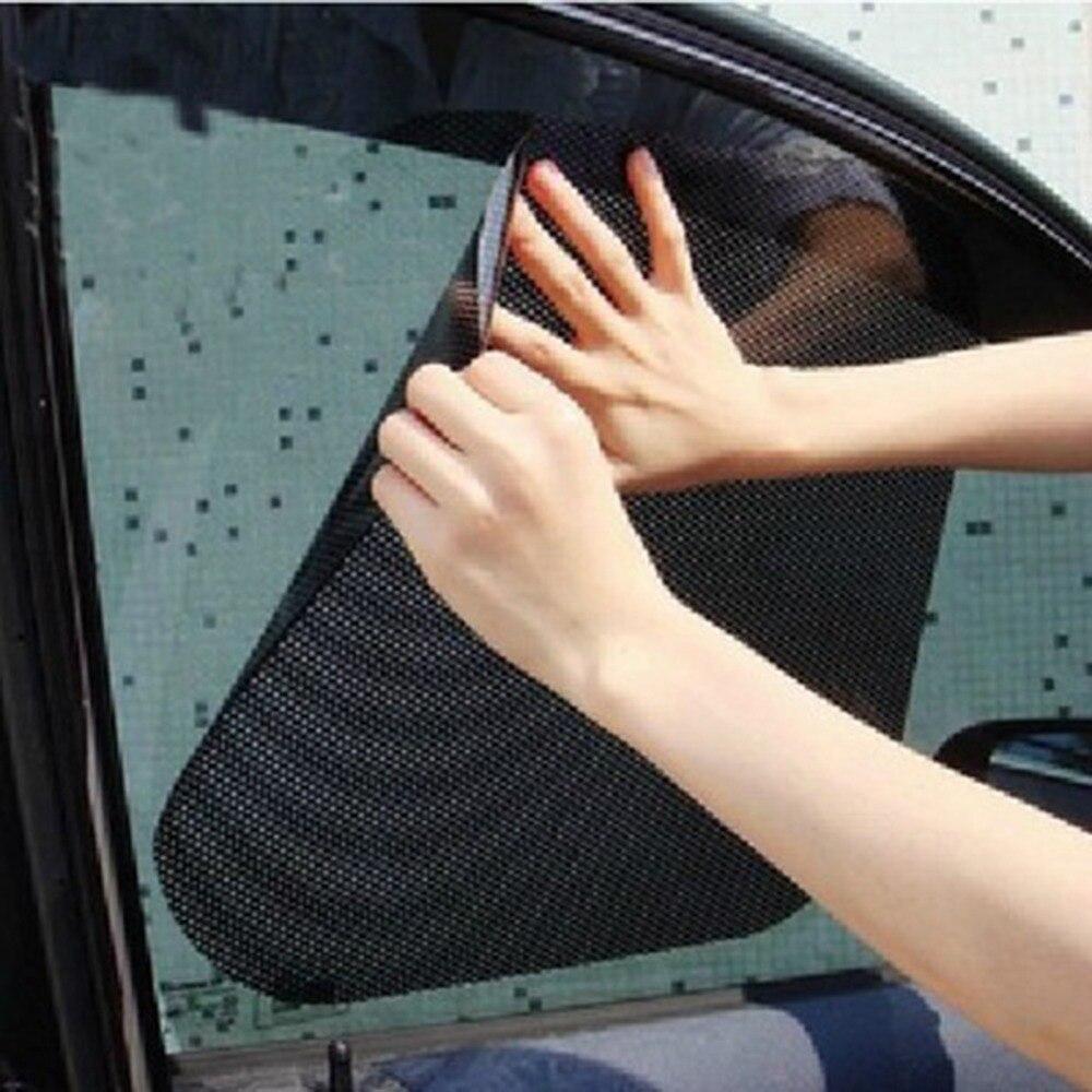 2pcs Auto Care Black Side Car Sun Protection Rear Window Sun Shades Cover Block Static Cling Visor