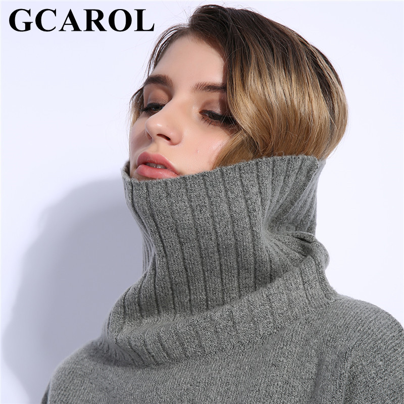 GCAROL 2018 Fall Winter Women Turtleneck Sweater 20% Wool High Quality Oversized  Knit Jumper Soft Hand Pullover In 3 Colors  13e780b46