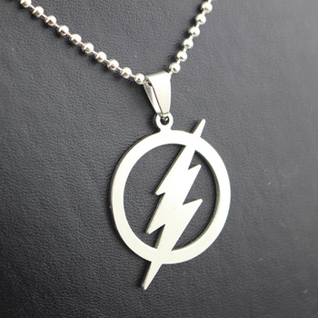 New Arrival High Quality The Flash Dc Super Hero Lightning Logo Chain Necklace Pendant