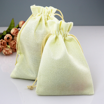 13x18cm 100pcs/lot Beige Color Linen Gift Packaging Bags Drawstring Jewelry Beads Pouches Accept Custom Logo Printing